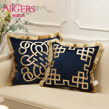 Avigers Luxury Embroidered Cushion Covers Velvet Tassels Pillow Case Home Decorative European Sofa Car Throw Pillows Blue Brown цены