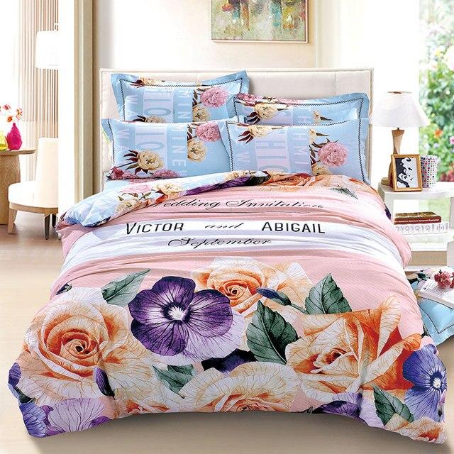 3D Aquarell Lila Und Orange Floral Bettwäsche Set Königin König Größe 100%  Gebürstet Baumwollgewebe Bettwäsche