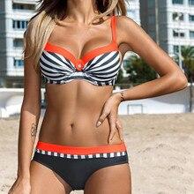 Large Size Swimsuits 2019 Women Push up Bikini set Sexy Striped Patchwork  Swimwear Female Bandage Biquini Beachwear XXL