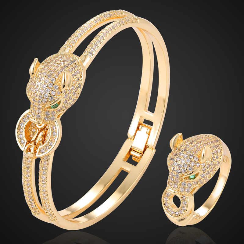 Zlxgirl takı marka leopar altın bileklik ve yüzük takı setleri kadınlar için düğün gelin aksesuarları setleri kübik zirkon bileklik