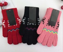 GLV935 women and young children above 15years winter warm font b gloves b font Jacquard snowflakes
