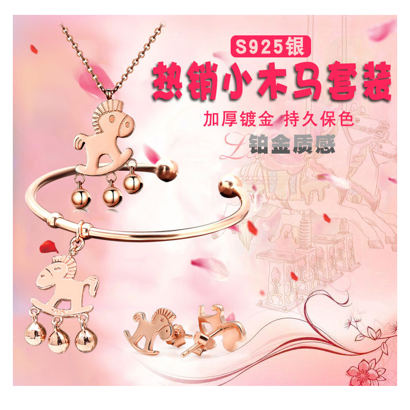 3pcs/sets Horse Findings Jewelry 925 Sterling Silver Horse Pendant Necklace Cute Animal Horse Bracelet And Horse Earring