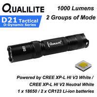 Qualilite D21 CREE XP-L Hola Blanco/blanco 1000 lúmenes 2 grupos de 3 a 5-modo LED linterna (1x18650/2xCR123)