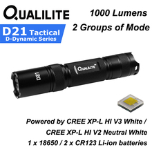 Qualilite D21 CREE XP-L HI White / Neutral White 1000 Lumens 2 Groups of 3 to 5-Mode LED Flashlight ( 1x18650 / 2xCR123 ) 2016 fenix new pd32 cree xp l hi white led 900 lumen 14400 candela led flashlight 1 x 18650 2 cr123a