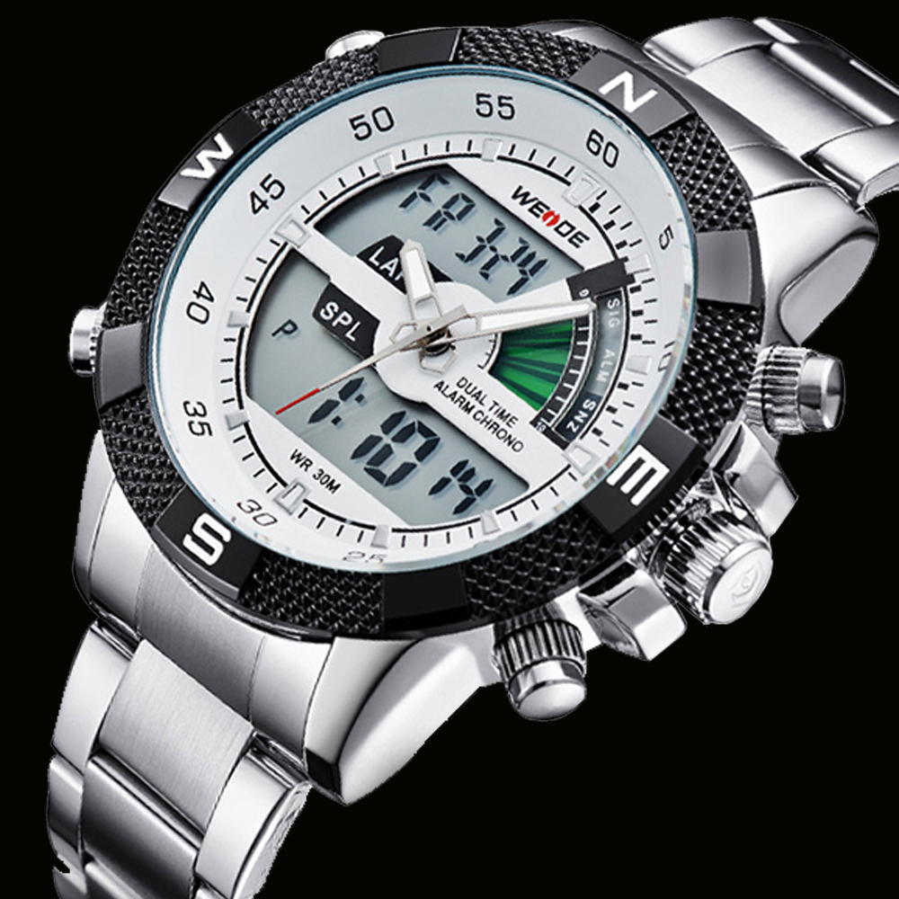 WEIDE Brand Men Sports Watches Men's Quartz Multifunction Military Watch Analog Digital Waterproof Stainless Steel Wristwatches weide irregular men military analog digital led watch 3atm water resistant stainless steel bracelet multifunction sports watches