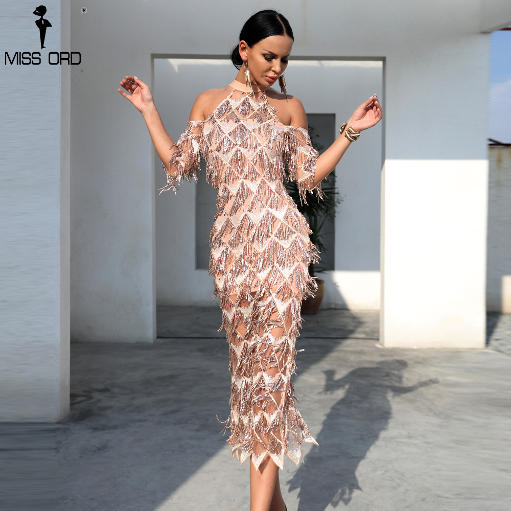 Missord 2019 Sexy High Neck Off Shoulder Tassel Sequin Short Sleeve Dresses Female Split Elegant Party Dress Vestdios FT18456-in Dresses from Women's Clothing