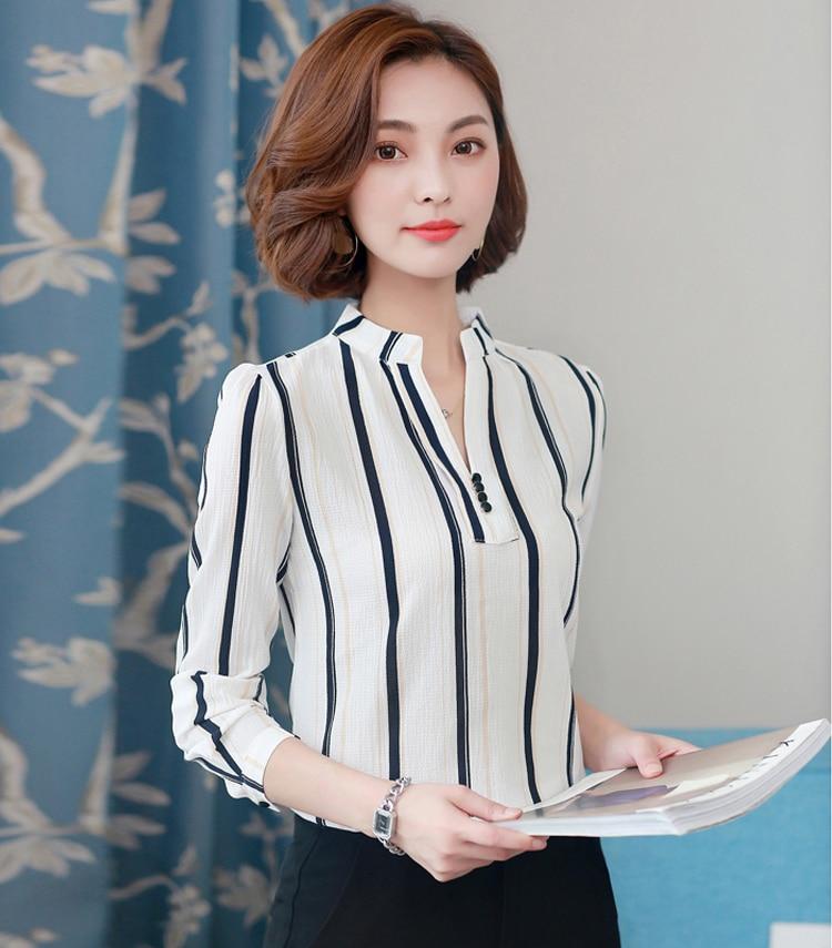 Women Chiffon Blouse Shirt 2020 Female Clothing Long Sleeve Blusas Chiffon Women's Office Blouses Print Striped Dot Lady OL Top