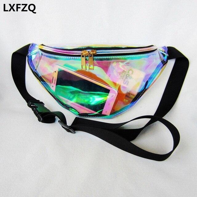 2018 Новый поясная сумка женские сумки лазерная кошелек прозрачный Светоотражающие грудь талия мешок женщины поясная сумка талии нога мешок талии пакет