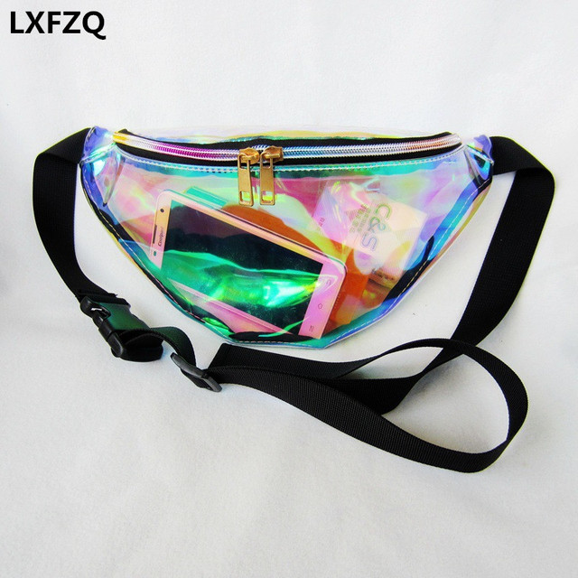 ce109f199131 2019 new fanny pack women's handbags Laser purse translucent reflective chest  waist bag women belt bag