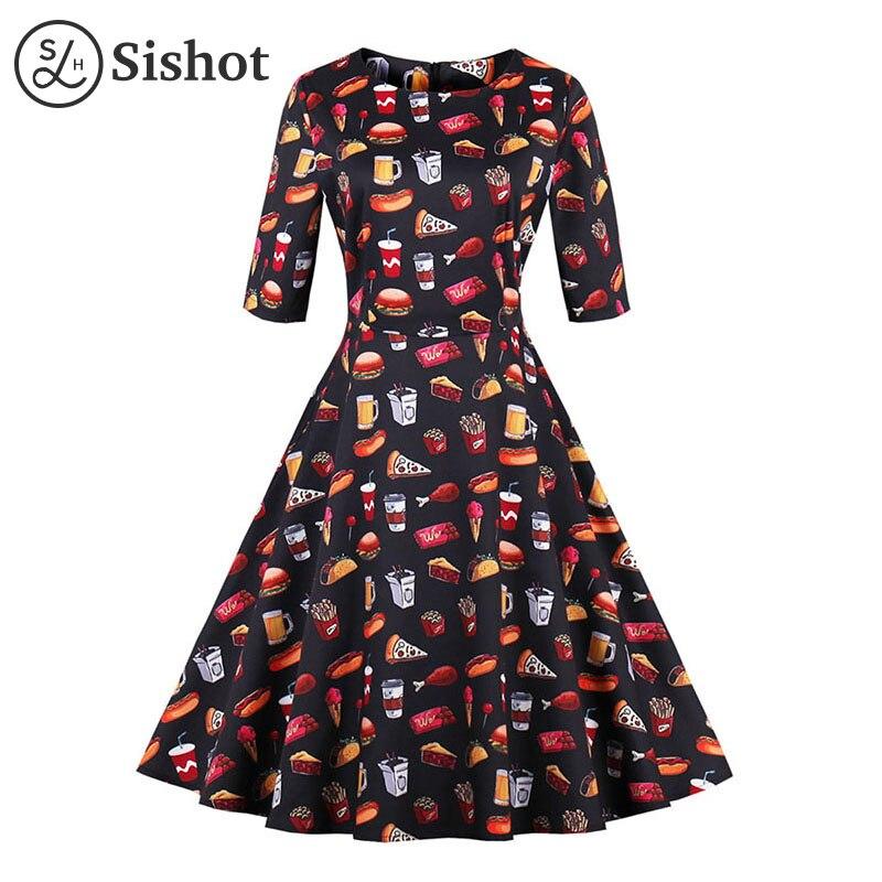 Sishot women retro dresses 2017 autumn cotton black cute printed o neck half sleeve o neck cola beer print fall vintage dress