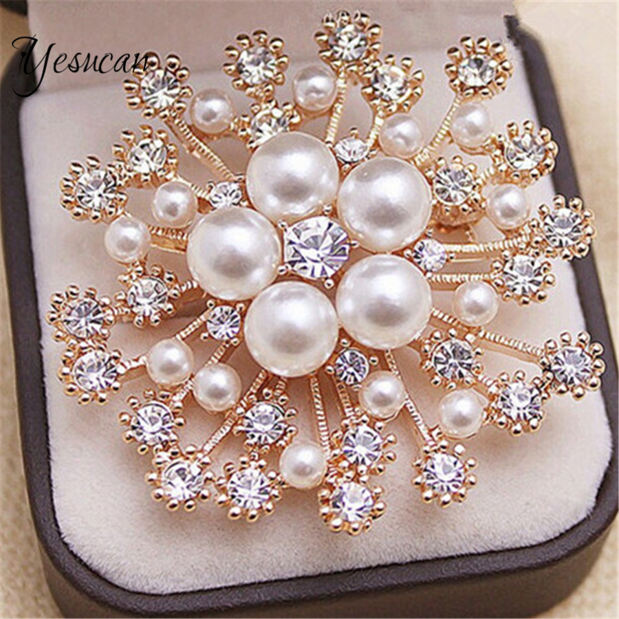 Yesucan Boho Simple Luxury Snow Pearls Brooch for Women Bride Wedding Party Geometric Flower Trendy Jewelry Bijoux