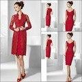 Sexy Bainha Mãe dos Vestidos de Noiva de Cetim Vermelho E Lace Com Jacket Vestidos De Festa Na Altura Do Joelho-Comprimento Vestido de Festa de Casamento S144