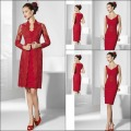 Sexy Sheath Mother of the Bride Dresses Red Satin And Lace With Jacket Vestidos De Festa Knee-Length Wedding Party Dress S144