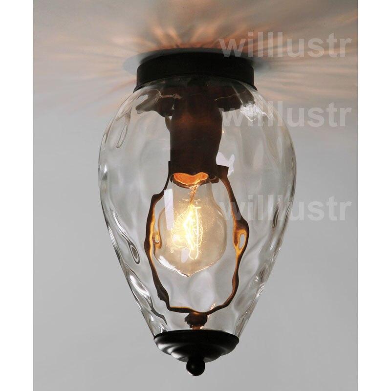 Willlustr прозрачное стекло потолочный светильник стекло свет ананас горошек волна воды кристально Nordic освещения прозрачный абажур