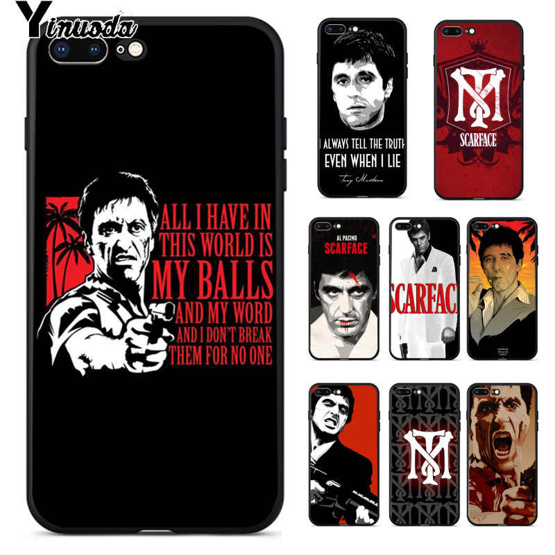 Yinuoda Scarface Tony Montana Luxury High-end Protector Case for iPhone 8 7 6 6S Plus 5 5S SE XR X XS MAX Coque Shell