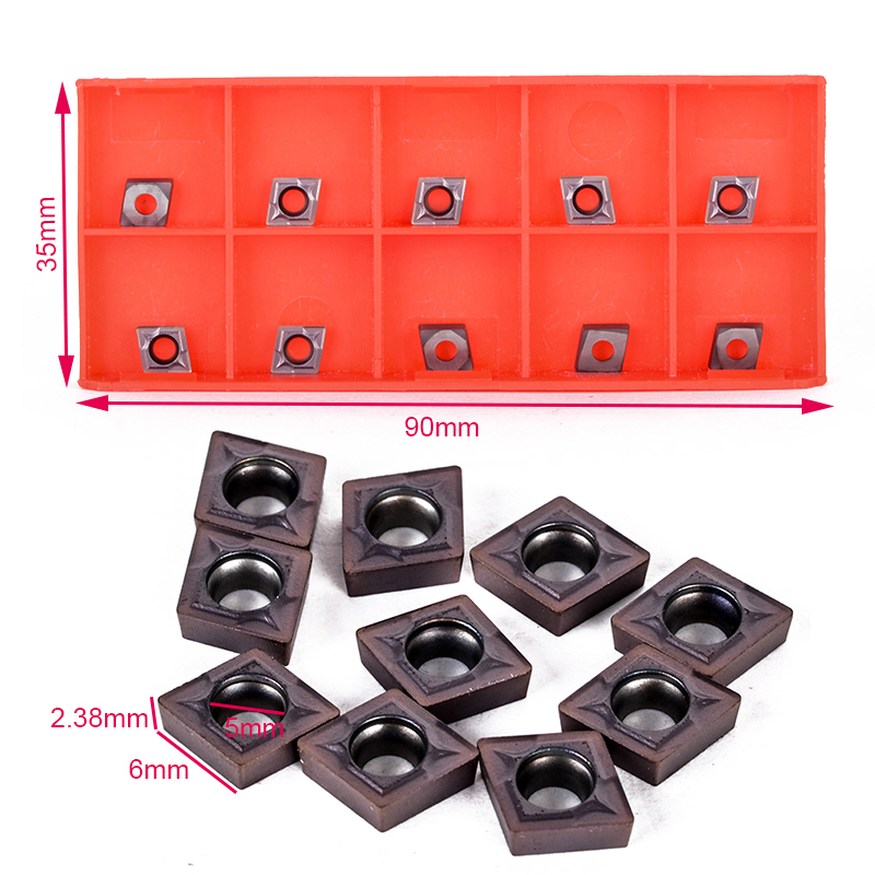 10pcs/Set CCMT060204 Carbide Inserts Internal Blades Durable Sharp Cutter for CNC Lathe Turning Tool Boring Bar10pcs/Set CCMT060204 Carbide Inserts Internal Blades Durable Sharp Cutter for CNC Lathe Turning Tool Boring Bar