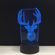 Bucks Deer Head Antlers LED 3D NightLight Acrylic Night Lamp Light Luminary Touch And Remote Lamps Lights Kids Decoration Mylamp