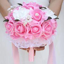 Свадебный букет невесты Фиолетовый с белым букетом желтые цветы искусственные цветы фиолетовый свадебная бутоньерка