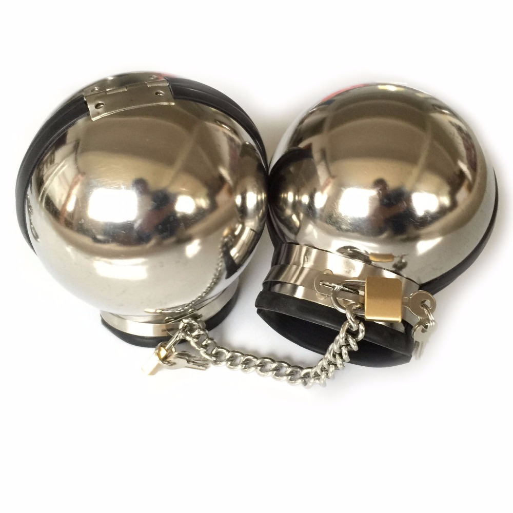 Stainless Steel Metal Ball Hand Cuffs BDSM Bondage Restraints Handcuffs For Sex Games Slave Fetish Adult Toys Torture Device