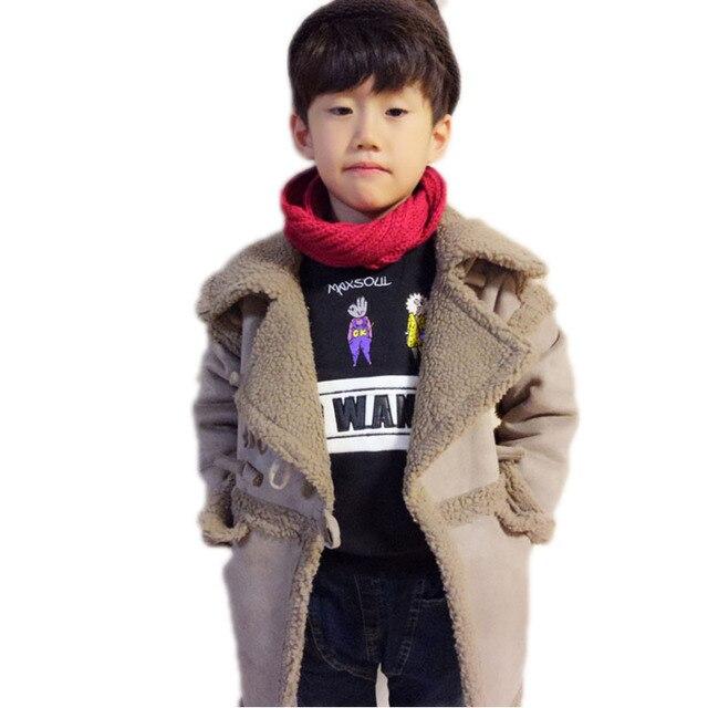 Детские зимние куртки 2017 новый длинные дети вниз куртки turn down воротник solid берберские флис мальчики девочки зимнее пальто 2-10 Т