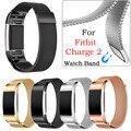 Мода Женщины Мужчины Металлические Ремешки Для Наручных Часов Из Нержавеющей Стали Часы Ремешок Браслет Для Fitbit Заряд 2 Smart Watch Band Черный Бесплатная Доставка