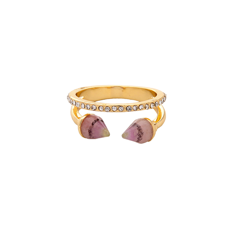 Two Layers Crystal Synthetic Stone Ring for Women Blue Pink Cool Finger Ring Brand Jewelry Accessories