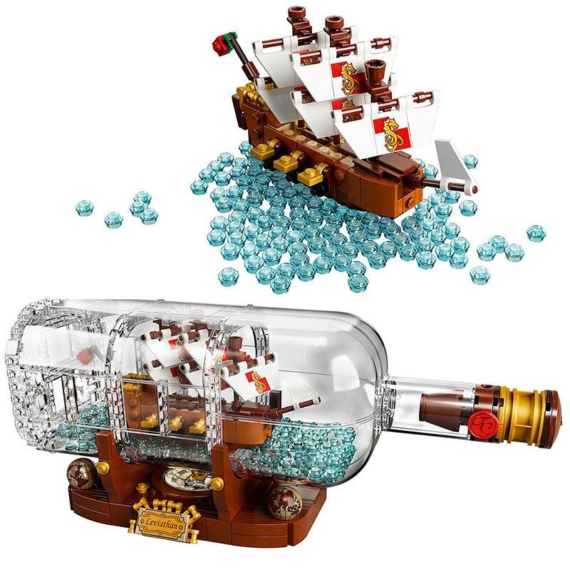 Creatore Idee Pirati dei caraibi Nave in una Bottiglia Mattoni Building Block Giocattoli Per Bambini Regali Compatibile Legoings 21313