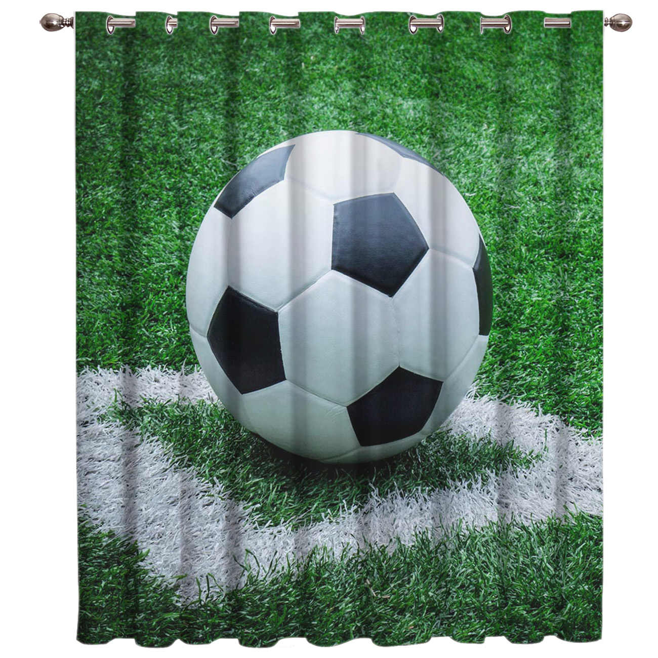 Soccer Curtains Balls Football 3D Window Curtains for Living Room Bedroom Kitchen Cortinas Para Sala De Estar Polyester