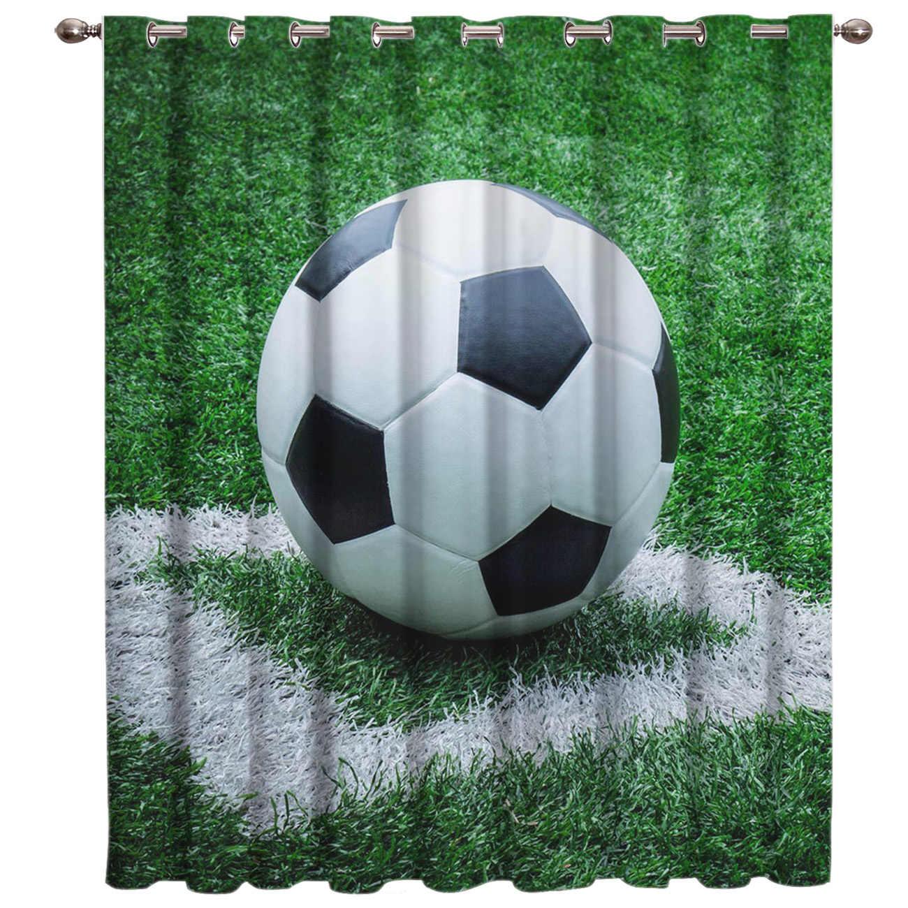 כדורגל וילונות כדורי כדורגל 3D חלון וילונות לסלון חדר שינה מטבח Cortinas Para Sala De Estar פוליאסטר