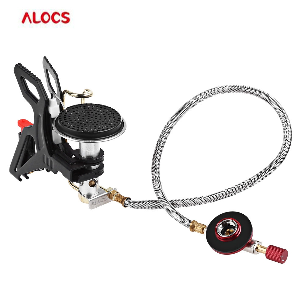 ALOCS 3000W Durable Gas Furnace Stove Outdoor Camping Cookware Folding Gas Stove Burners for Hiking Fishing Cooking Picnic BBQ 45g 3000w mini portable folding camping stove outdoor gas stove survival furnace stove cooking picnic gas newest 2018