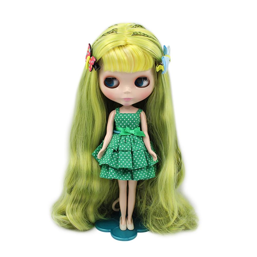 Fabryka blythe Doll Nude żółty zielony długie falowane włosy z grzywką i plecionki różowe usta normalne ciało kolory dla oczu nadaje się do DIY w Lalki od Zabawki i hobby na  Grupa 1