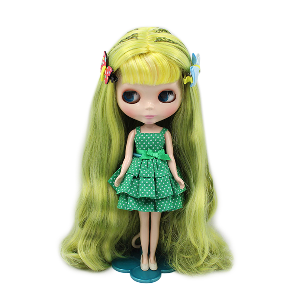 Dolls Lower Price with Factory Blyth Doll Nude Doll Gloden Wavy Long Hair With Bangs Red Mouth Normal Body 4 Colors For Eyes Suitable For Diy