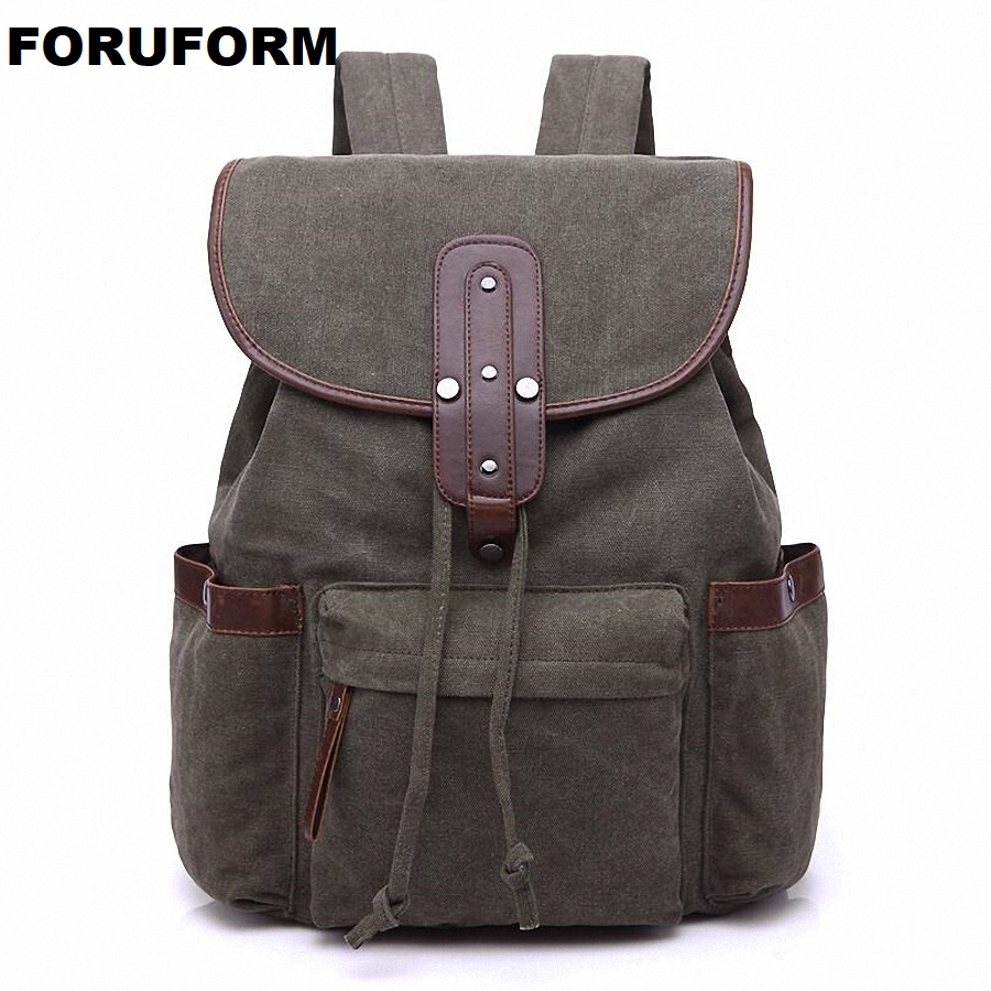 Vintage Retro Canvas Backpack Travel Casual Leather Bags Women And Men Book Bag Youth Shoulder Bags Mochila Backpacks LI-1893 vintage men s canvas backpacks fashion daypack shoulder loptop bags travel backpack women casual school book bag hqb2032