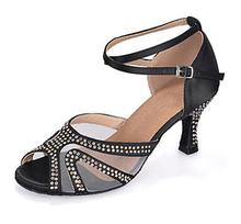 New Ladies Black Satin Crystal Ballroom Latin Samba Salsa Ceroc Tango Jive Line Dance Heels Shoes All Size