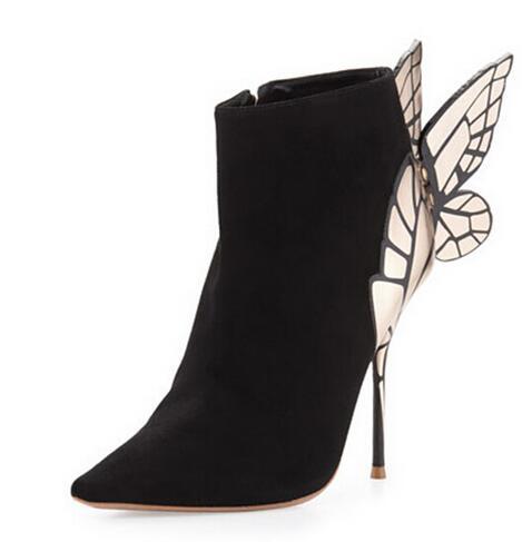Botines Sexy Señoras Punta Negro Zapatos Las Otoño Bo Estilete Mariposa Bota De Dulce Estrecha Cuero Mujer Tacones Mujeres wq7w8HEXA