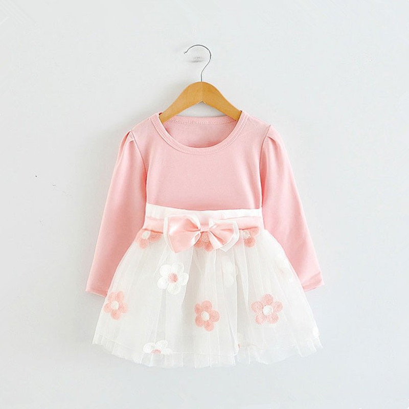 Long Sleeve 1 Year Girl Baby Birthday Dress 0 2T Newborn Toddler Christening Dresses Winter Girl Casual Clothes Vestido Infantil sun moon kids baby dress 2017 long sleeve 1 year birthday dress casual ruffles newborn baby girl clothes princess tutu dresses