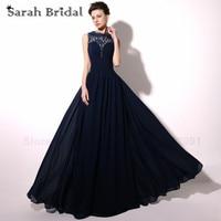 Navy Blue Lace Bridesmaid Dresses Long Pleated Chiffon Sheer Neck Back Girls Party Dresses Vestidos De