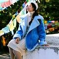 MX141 Новое Прибытие 2016 случайные свободные женщины с длинным рукавом пряжки толщиной овечьей шерсти замши пальто куртки зима