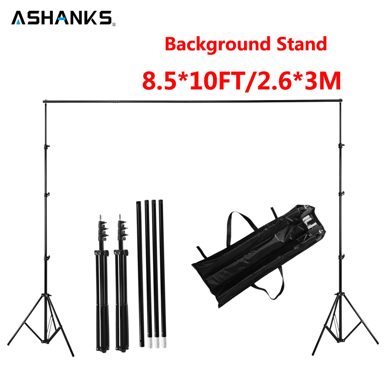 ASHANKS 2.6M X 3M/8.5*10ft Pro Photography Photo Backdrops Background Support System Stands For Photo Video Studio + carry bag ashanks photography backdrops white screen 3 4m solid background for photo studio 10ft 13ft backdrop for camera fotografica