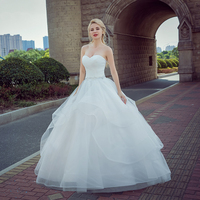 2017 New Arrive Delicate Crystal Beaded Bride Princess Wedding Dress Fashion Backless Vestido Luxury Ball Gown