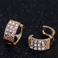 Women Cute Small Hoop Earrings Gold Filled Rhinestone Earrings for Christmas Party Jewelry pendientes mujer Free Shipping