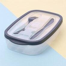 Пластиковая коробка для бенто хранения еды преп Ланч-бокс 2 отсека многоразовые Microwavable контейнеры домашний Ланчбокс