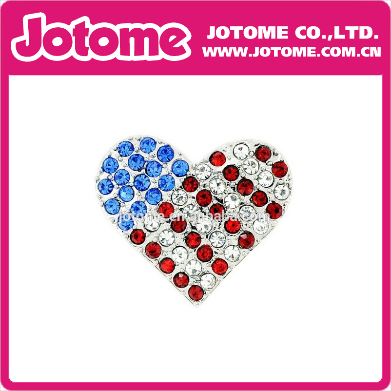 100pcs/lot 2016 HOTSALE Patriotic America Flag Themed Heart Shpaed Brooch Pins patriotic cover up american flag wrap dress
