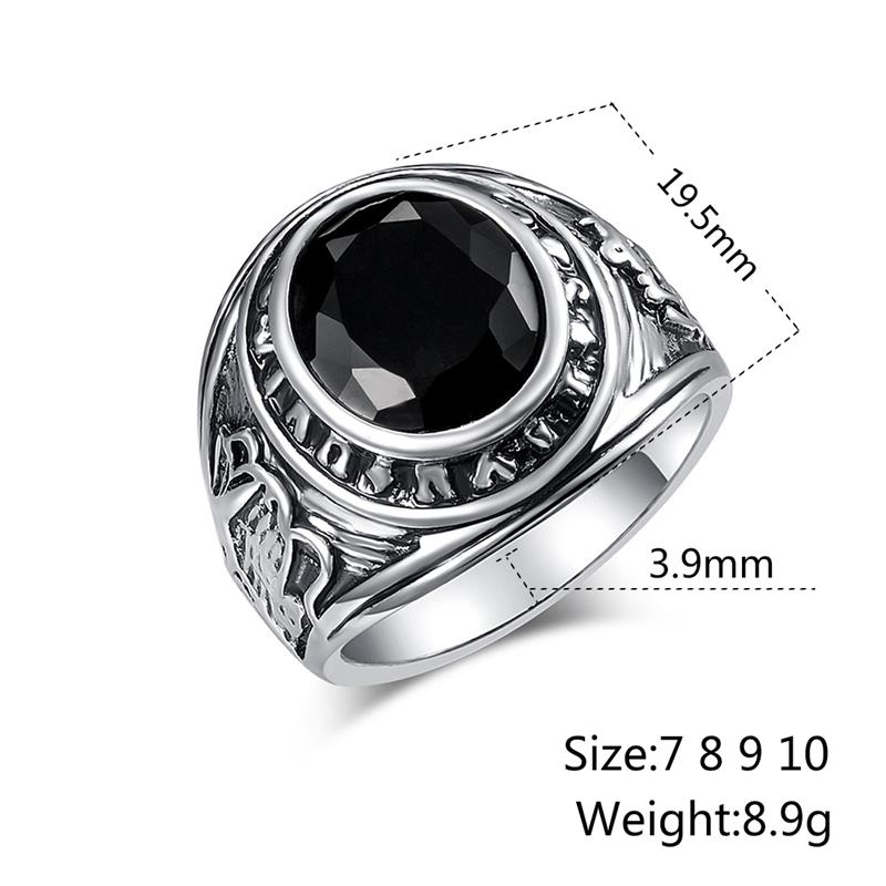 OBSDE Big Signet Vintage Rings Oval Black Stone