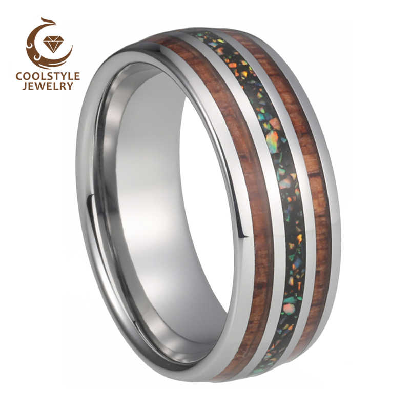8mm Tungsten Wedding Bands For Men Women With Real Blue Opal