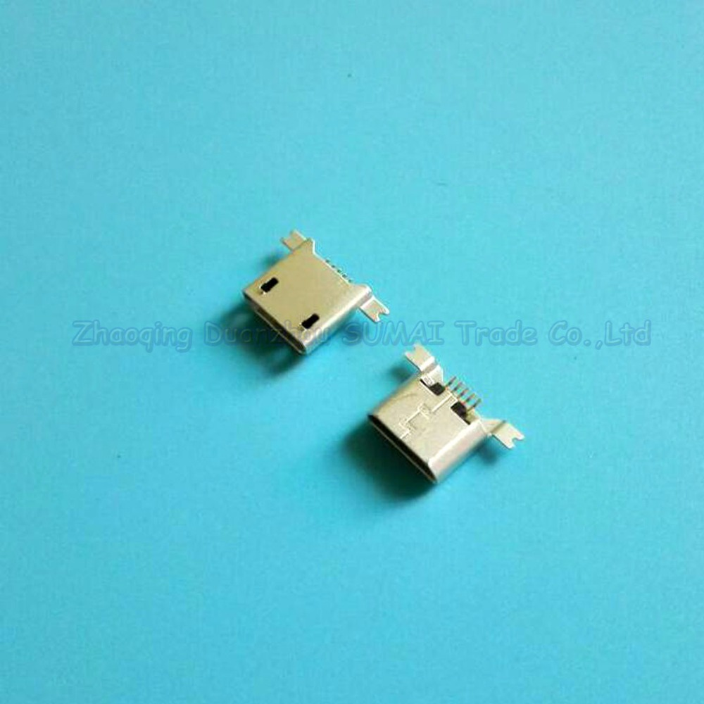100pcs MICRO 5p USB female socket two SMT feet Sinking Plating 1.2