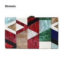 New 2018 Women messenger bag Summer unqique acrylic geometric lattice patchwork handbag small patry Clutch lady