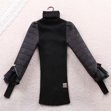 hot sale women sweaters and pullovers Warm Winter Fashion Knitted Pullover Black Lace Lantern Sleeve Knitwear oversized sweater
