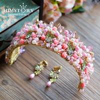 Himstory Sweety High end Pink Flower Crown Tiara Handmade Ceramic Pearl Brides Crown Evening Dress Hair Accessories
