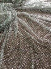 Argento incollati glitter Francese Tulle Pizzo LJY 42611 Fashian Africano Pizzo Francese Con glitter
